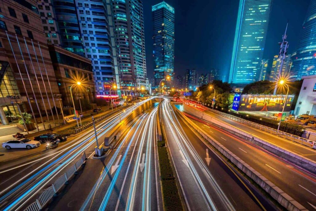 Highway in a city at night